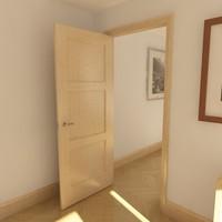3d model solid 3 panel door