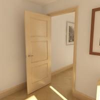 3 panel solid door 3d model