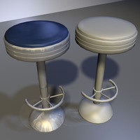 3d model chrome bar stool 03