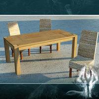 LowPoly wood table with rattan chair