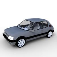 3d midpoly 205 gti model