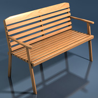 3d model outdoor bench wooden wood boards
