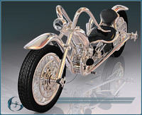 3d model chopper motorcycle