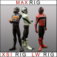 BIKER - Max, Lightwave and XSI  rigged character