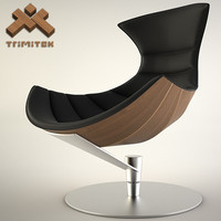 Lobster Chair in black leather and walnut veneer