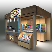3d coffee kiosk model