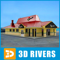 fast food pizza hut 3d model