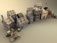 3d model pack buildings village