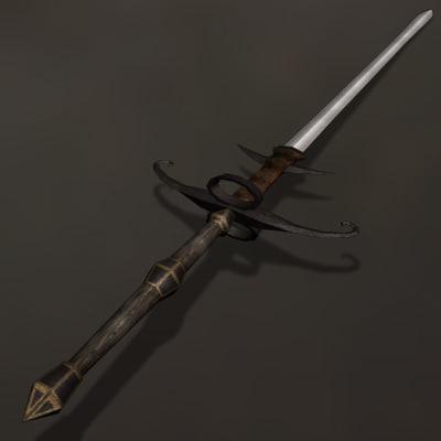 Zweihander Sword blade great 3d max