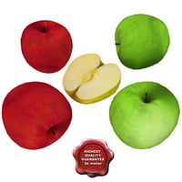 3d model apple fruits