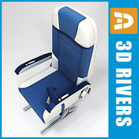 airplane economy class seats 3d model