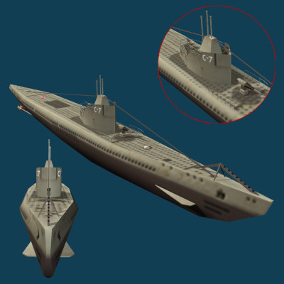 3d russian s-7 1941 submarine model - submarine s-7 russia (1941