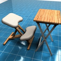 3d kneeling chair tray table