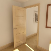 3d model 4 panel solid door
