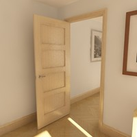 4 panel solid door 3d model