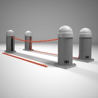 automatic chain road barrier 3d model