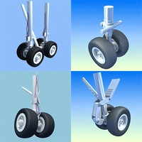 4 aircraft wheels 3d lwo