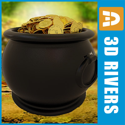 3d pot leprechaun treasure model - Leprechauns treasure by 3DRivers... by 3DRivers