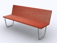 3d wood bench