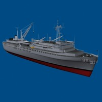 navy submarine tender vessels 3d model