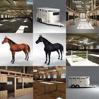 stables horse riding 3d max