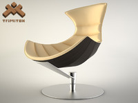 Lobster Chair in beige leather and dark veneer