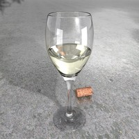 White Wine Glass + Wine + Materials, High Resolution