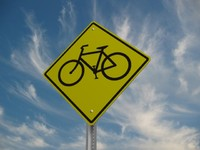 3d bike crossing street sign
