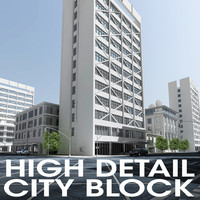 3d model city block buildings street