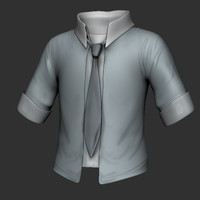 button shirt 3d obj