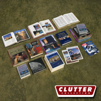 coffee table books clutter 3d model