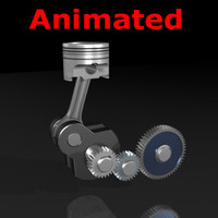 3d piston gears animate crank
