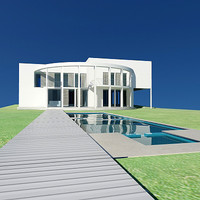 3d model villa swimming pool