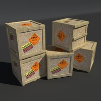 3d explosives crate wood model