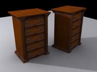 wooden dresser antique 3d model