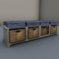 3d bench storage
