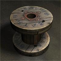 3d wooden reel model