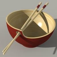 cup chopstiks 3d model