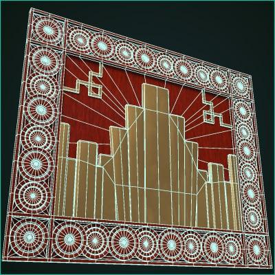 Maya art deco mural for Art deco mural wall