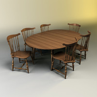 3d kitchen table chairs set