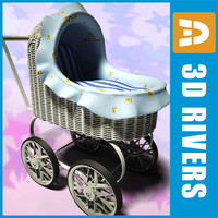 toy baby carriage 3d model