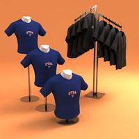 3d hanging t-shirts mannequins rack