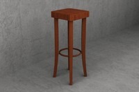 3d model 80cm wooden cafe stool