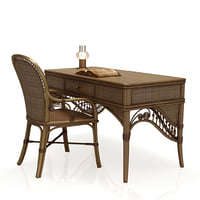 rattan table desk chair 3d 3ds