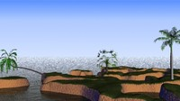 small coastal terrain palm trees 3d max