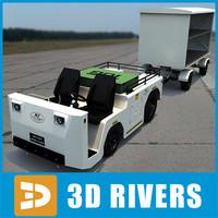 airport baggage tractor 3d model