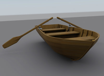 Wooden Row Boat Wood row boat 3d model