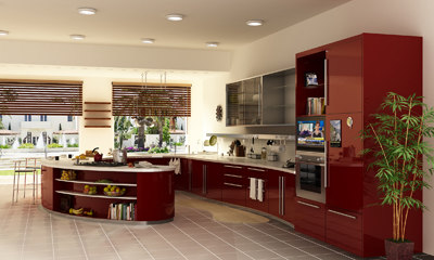 kitchen interior - 3d max - Kitchen, modern, red  - Interior... by wsader