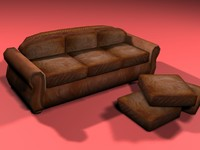 3ds max antique leather sofa