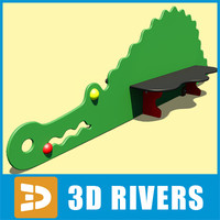 crocodile shaped bench kids playground 3d max